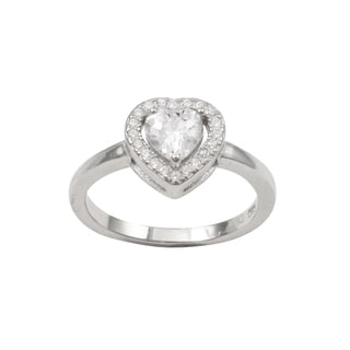 Luxiro Sterling Silver Cubic Zirconia Heart Children's Ring