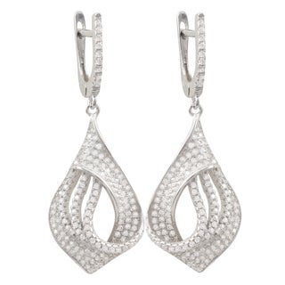 Luxiro Sterling Silver Micropave Cubic Zirconia Teardrop Dangle Earrings