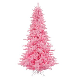 Vickerman Pink Plastic 3-foot Fir Artificial Christmas Tree with 100 Pink Lights