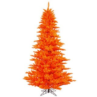 Vickerman Orange Plastic 3-foot Fir Artificial Christmas Tree with 100 Orange Lights