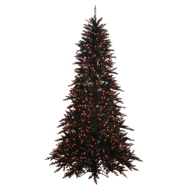 vickerman black fir slim 3 foot artificial christmas tree with 100 orange led lights - Slim Christmas Tree With Led Lights