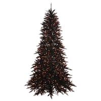 Vickerman Black Fir Slim 3-foot Artificial Christmas Tree with 100 Orange LED Lights