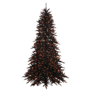 Vickerman Black Fir Slim 3-foot Artificial Christmas Tree with 100 Orange LED Lights