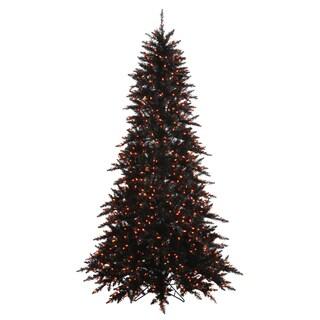 Vickerman Black PVC 3-foot Fir Slim Artificial Christmas Tree with 100 Orange Lights