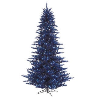 Vickerman Navy Blue Plastic 3-foot Fir Artificial Christmas Tree with 100 Blue Lights