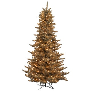 Vickerman Antique Champagne PVC 3-foot Fir Artificial Christmas Tree with 100 Warm White LED Lights