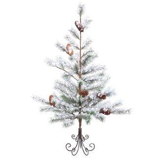 Vickerman Flocked White/Green PVC 3-foot Desert Pine Unlit Artificial Christmas Tree
