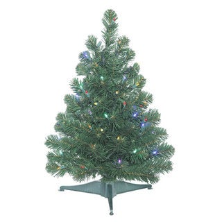 Vickerman Green Plastic 26-inch Oregon Fir Artificial Christmas Tree with 50 Multicolor LED Lights