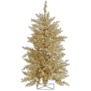 Vickerman Champagne 3-foot Artificial Christmas Tree with 70 Clear Lights