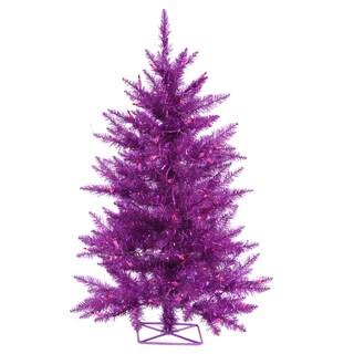 Vickerman Purple Plastic 2-foot Artificial Christmas Tree with 35 Purple Lights