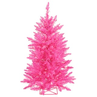 Vickerman Hot Pink Plastic 3-foot Artificial Christmas Tree With 70 LED Lights