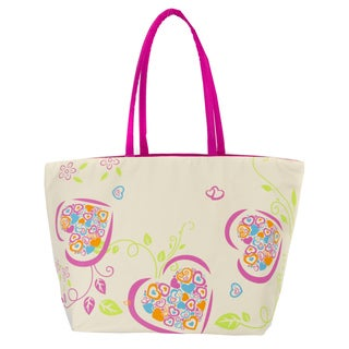 Leisureland Large Heart Printed Beach Tote Bag