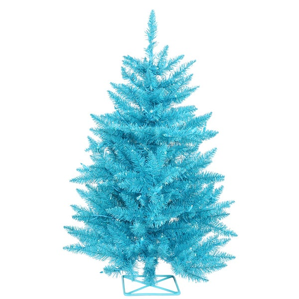 Shop Vickerman Sky Blue PVC 2-foot Artificial Christmas Tree with 35 ...
