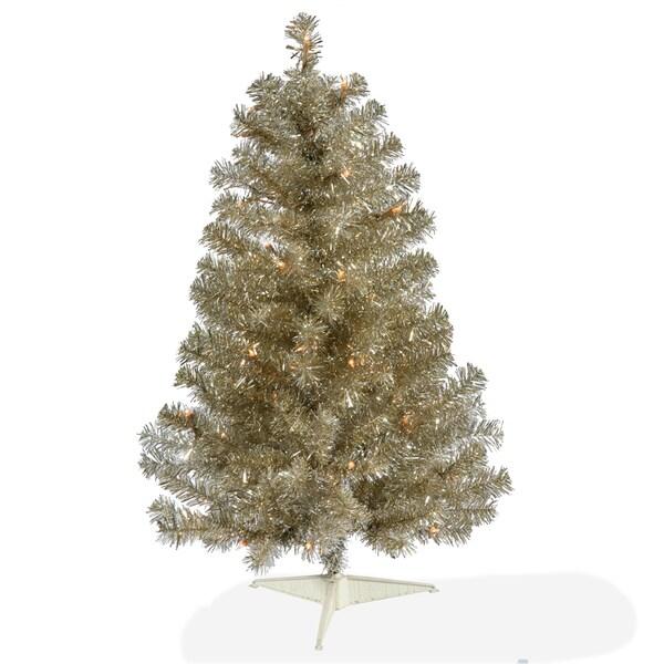 Lead Free Christmas Trees: Shop Vickerman Champagne PVC 3-foot Artificial Christmas
