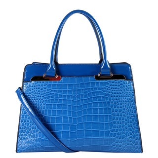 Rimen & Co. Blue Faux-leather Double-handle Handbag