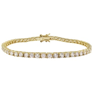 Luxiro Gold Finish Sterling Silver 3-mm Round Cubic Zirconia Tennis Bracelet