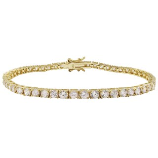 Luxiro Gold Finish Sterling Silver 3-mm Round Cubic Zirconia Tennis Bracelet - White