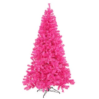 Vickerman Pink Plastic 36-inch x 19-inch Artificial Christmas Tree with 50 Pink LED Lights