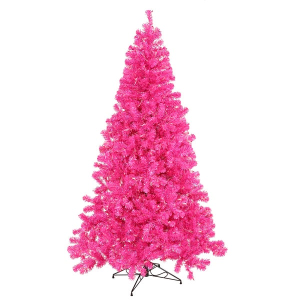 Vickerman Hot Pink Plastic 3 Foot Artificial Christmas Tree With 50 Lights