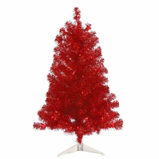Vickerman Red Plastic 3-foot Artificial Christmas Tree with 50 Red LED Lights