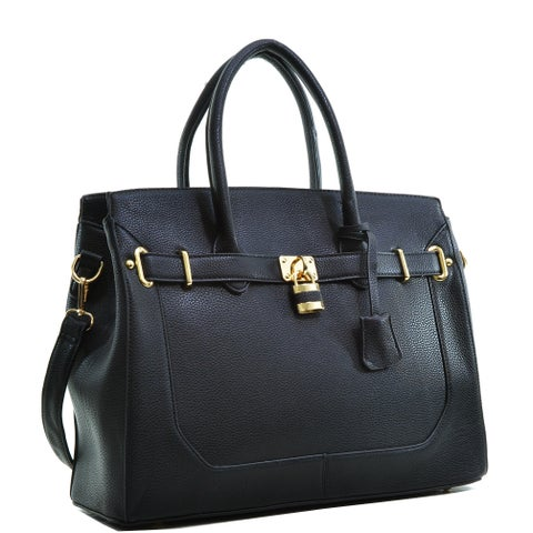 Dasein Faux Leather Padlock & Key Satchel Handbag with Shoulder Strap
