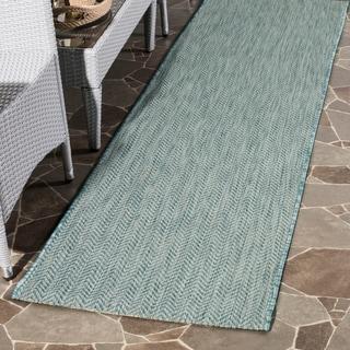 Safavieh Indoor/ Outdoor Courtyard Aqua/ Grey Rug (2' 3 x 8')