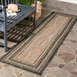 Safavieh Indoor/ Outdoor Courtyard Natural/ Black Rug (2'3 x 12')