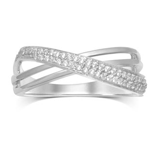 Unending Love 1/4ct TDW Sterling Silver Crossover Fashion Ring