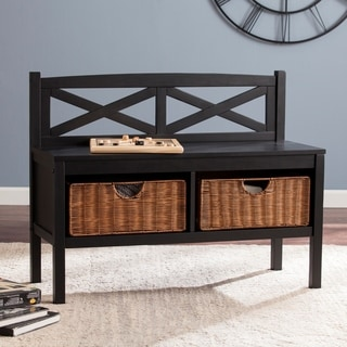Harper Blvd Rachel Black X-Back Bench with Storage Baskets