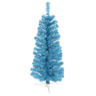Vickerman Sky Blue Plastic 3-foot Pencil Artificial Christmas Tree With 50 LED Lights