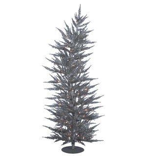 Vickerman Silver PVC 3-foot Laser Artificial Christmas Tree With 50 Clear Lights