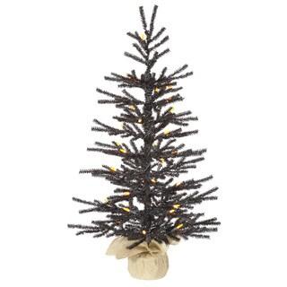 Vickerman Black Plastic 30-inch Pistol Artificial Christmas Tree with 35 Orange LED Lights