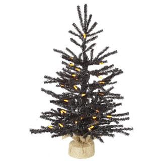 Vickerman Black PVC 24-inch Pistol Artificial Christmas Tree with 35 Orange LED Lights