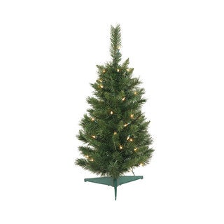 Vickerman Green PVC 30-inch Imperial Pine Artificial Christmas Tree with 50 Clear Lights