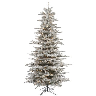 Vickerman Green Plastic 8.5-foot Flocked Sierra Fir Slim Artificial Christmas Tree with 850 Clear Lights