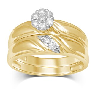 Unending Love 10K Yellow Gold 1/4ct TDW Flower Top Bridal Ring (More options available)