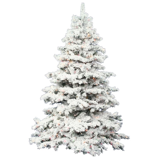 vickerman flocked alaskan pine 9 foot artificial christmas tree with 1200 multicolored led lights