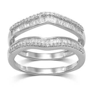 unending love 14k white gold 12ct tdw round and baguette wrap guard ring - Wedding Ring Wraps