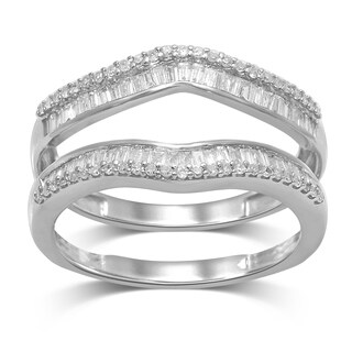 Unending Love 14k Gold 1/2ctw Round and Baguette Diamond (I-J Color, I2-I3 Clarity) Wrap Guard Rings (More options available)