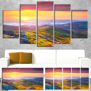 Rhododendron Flowers in Colorful Hills - Landscape Photo Canvas Print