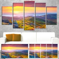 Rhododendron Flowers in Colorful Hills - Landscape Photo Canvas Print - YELLOW