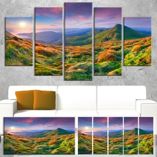 Purple Sky and Green Mountains - Landscape Photo Canvas Art Print
