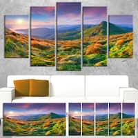 Purple Sky and Green Mountains - Landscape Photo Canvas Art Print