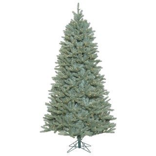 Vickerman Green Plastic 7.5-foot Colorado Blue Spruce Slim Artificial Christmas Tree with 800 Clear Lights