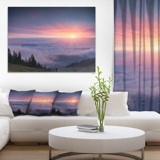 Sunrise in Purple Sky Over Mountains - Landscape Photo Canvas Print