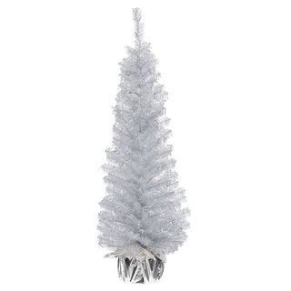 Vickerman Crystal Silver PVC 36-inch Unlit Artificial Christmas Tree
