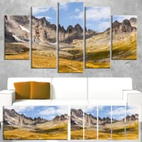 Hills and Valleys in Golden Morning - Landscape Photo Canvas Print - YELLOW