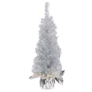 Vickerman Crystal Silver Plastic 24-inch Unlit Artificial Christmas Tree
