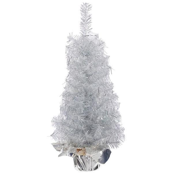Vickerman Crystal Silver Plastic 18 Inch Unlit Artificial Christmas Tree