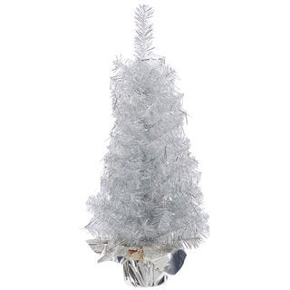 Vickerman Crystal Silver Plastic 18-inch Unlit Artificial Christmas Tree